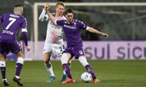 Fiorentina-Milan: Simon Kjaer, Dusan Vlahovic e Franck Ribery (Photo Credit: Agenzia Fotogramma)