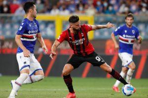 Sampdoria-Milan: Olivier Giroud, Maya Yoshida e Bartosz Bereszyński (Photo Credit: Agenzia Fotogramma)