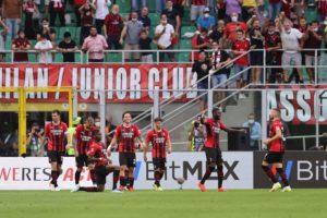 Milan: Alessio Romagnoli, Theo Hernandez, Rafael Leao, Davide Calabria, Brahim Diaz, Fikayo Tomori e Ante Rebic (Photo Credit: Agenzia Fotogramma)