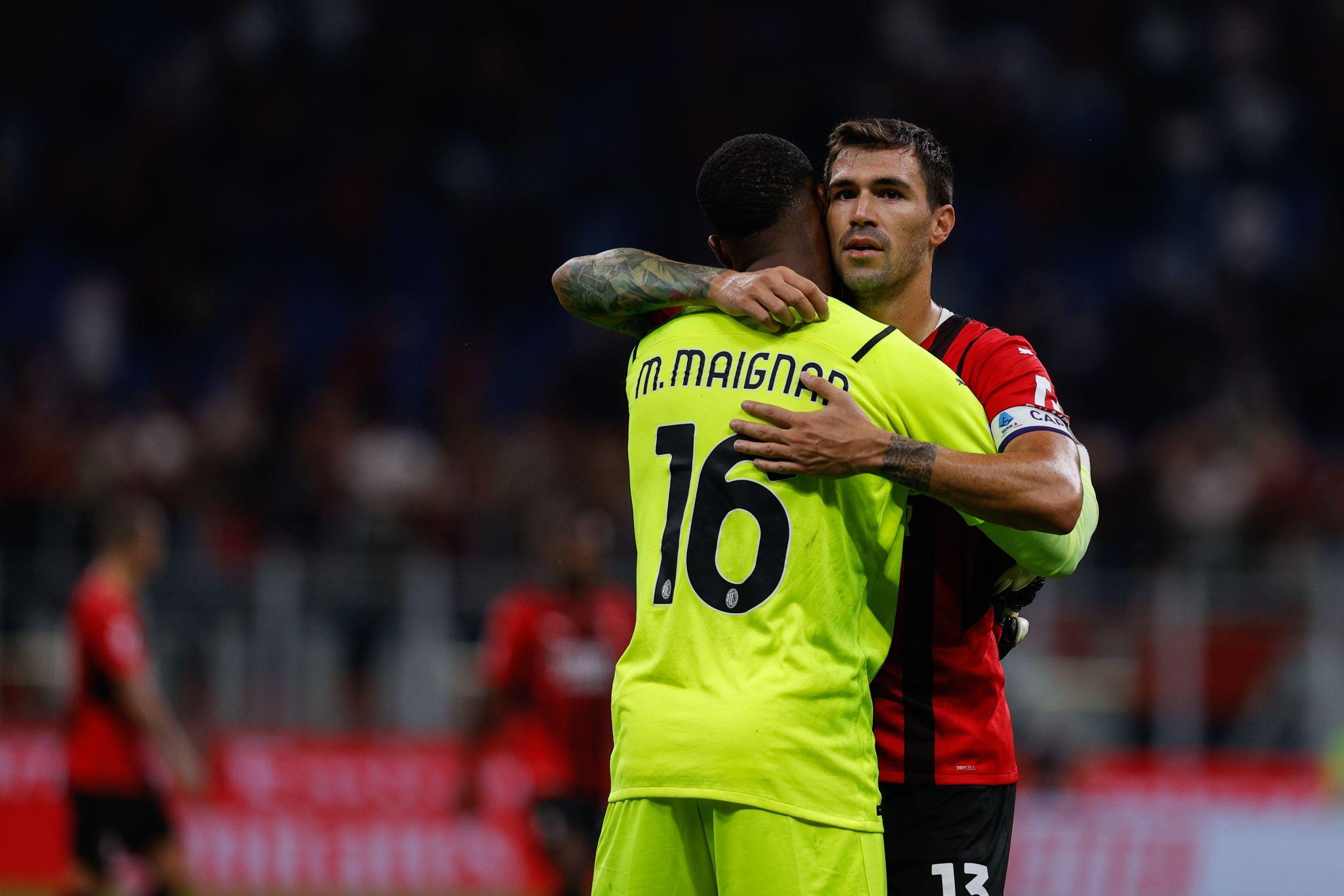 Milan: Alessio Romagnoli e Mike Maignan (Photo Credit: Agenzia Fotogramma)