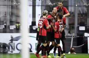 Milan: Zlatan Ibrahimovic, Alexis Saelemaekers, Brahim Diaz, Rafael Leao, Alessandro Florenzi (Photo Credit: Agenzia Fotogramma)